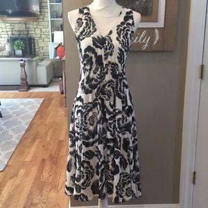 Ann Taylor Black and White Floral Sleeveless Dress